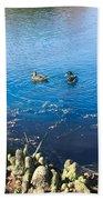 Mallard And Cypress Knees Beach Towel