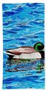 Mallard On Water Beach Towel