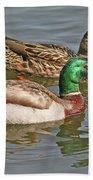 Mallard Pair Swimming, Waterfowl, Ducks Beach Towel