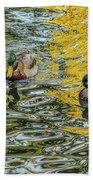 Mallards On Golden Pond 3 Beach Towel