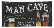 Man Cave Chalkboard Sign Beach Sheet