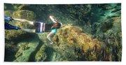 Man Free Diving Beach Towel