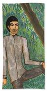 Man Sitting Under Willow Tree Beach Sheet
