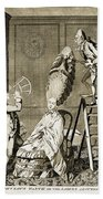 Man Using Sextant On Womans Coiffure Beach Towel