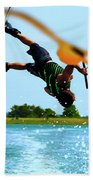 Man Wakeboarding Beach Towel by Fernando Cruz