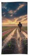 Man Watching Sunrise In Tulip Field Beach Sheet