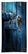 Man With Keys At Door Beach Towel
