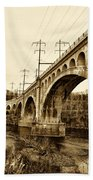 Manayunk Bridge Across The Schuylkill River In Sepia Beach Towel