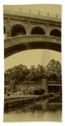 Manayunk Canal In Sepia Beach Towel