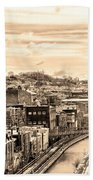 Manayunk In March - Canal View In Sepia Beach Towel
