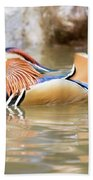 Mandarin Duck Swimming Beach Sheet