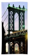 Manhattan Bridge And Empire State Building Beach Sheet