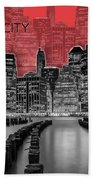 Manhattan Skyline - Graphic Art - Red Beach Towel
