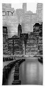 Manhattan Skyline - Graphic Art - White Beach Towel