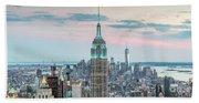 Manhattan Skyline Panoramic, New York City, Usa Beach Sheet
