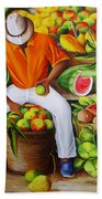 Manuel The Caribbean Fruit Vendor  Beach Towel