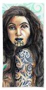 Maori Woman Beach Sheet