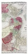 Map: Boston, 1865 Beach Towel