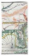 Map: North America, 1742 Beach Towel