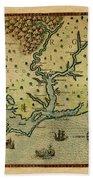 Map Of America 1590 Beach Towel