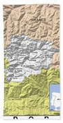 Map Of Andorra Beach Towel