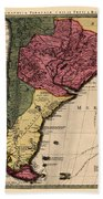 Map Of Argentina 1700 Beach Towel