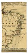 Map Of Brazil 1808 Beach Towel