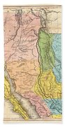 Map Of California New Mexico Texas  1849 Beach Towel