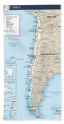 Map Of Chile Beach Towel