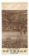 Map Of Cleveland 1877b Beach Towel