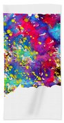 Map Of Connecticut-colorful Beach Towel