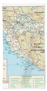 Map Of Croatia Beach Towel