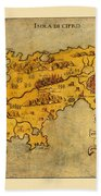 Map Of Cyprus 1562 Beach Towel
