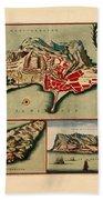 Map Of Gibraltar 1706 Beach Towel