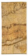 Map Of Long Island New York State In 1842 On Worn Distressed Canvas  Beach Towel