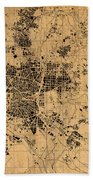 Map Of Madrid Spain Vintage Street Map Schematic Circa 1943 On Old Worn Parchment  Beach Towel