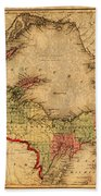 Map Of Michigan Upper Peninsula And Lake Superior Vintage Circa 1873 On Worn Distressed Canvas  Beach Towel