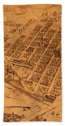 Map Of Minneapolis Minnesota Vintage Birds Eye View Aerial Schematic On Old Distressed Canvas Beach Towel