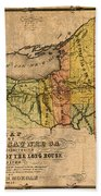 Map Of New York State Showing Original Indian Tribe Iroquois Landmarks And Territories Circa 1720 Beach Towel