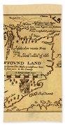 Map Of Newfoundland 1625 Beach Towel