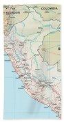 Map Of Peru 2 Beach Towel