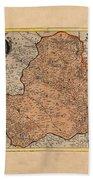 Map Of Rheims 1636 Beach Towel
