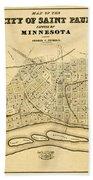 Map Of Saint Paul 1852 Beach Towel