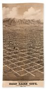 Map Of Salt Lake City 1875 Beach Towel