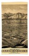 Map Of Santa Barbara 1877 Beach Towel