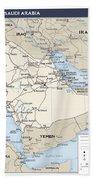 Map Of Saudi Arabia 2 Beach Towel