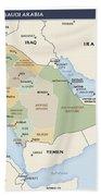 Map Of Saudi Arabia Beach Towel