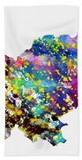 Map Of Slovenia-colorful Beach Towel
