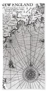 Map Of The Coast Of New England Beach Towel by Simon de Passe