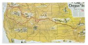Map Of The Old Oregon Trail Beach Towel